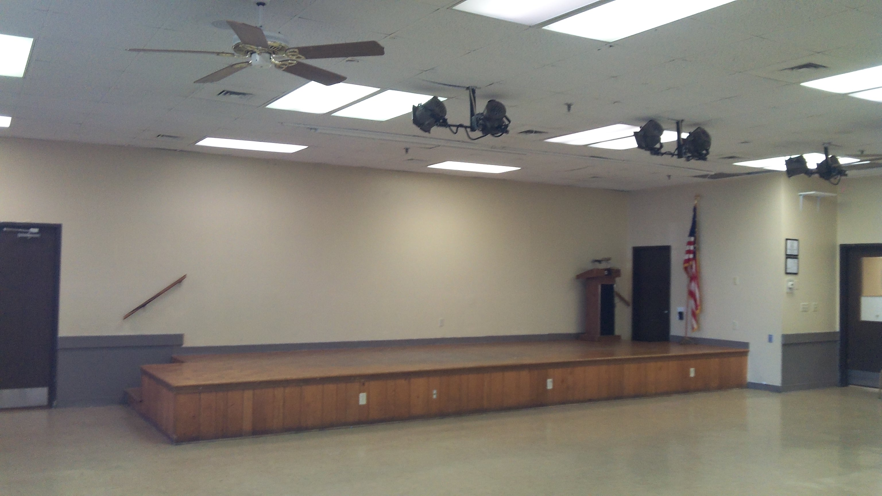 Recital & Performance Room with 8' x 25 ' Stage Seats 180 People